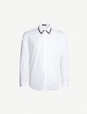 VERSACE Branded trim-collar cotton-poplin shirt