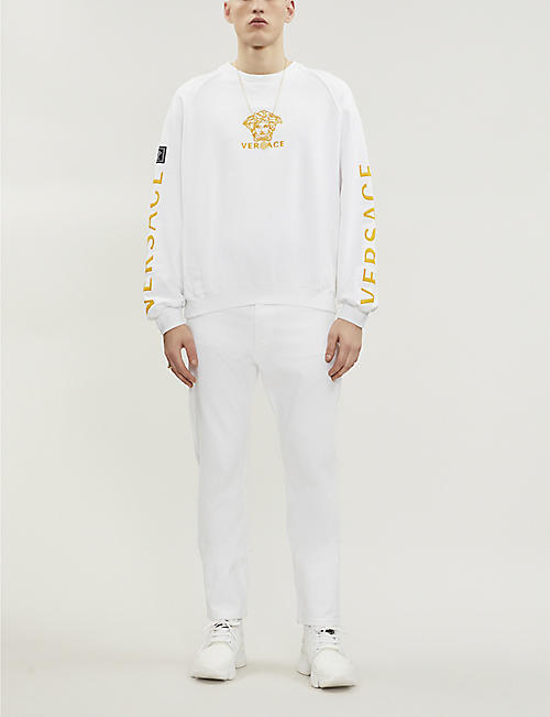01922a6d VERSACE Logo-embroidered cotton-jersey sweatshirt