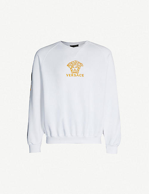 c38267e4 VERSACE Logo-embroidered cotton-jersey sweatshirt