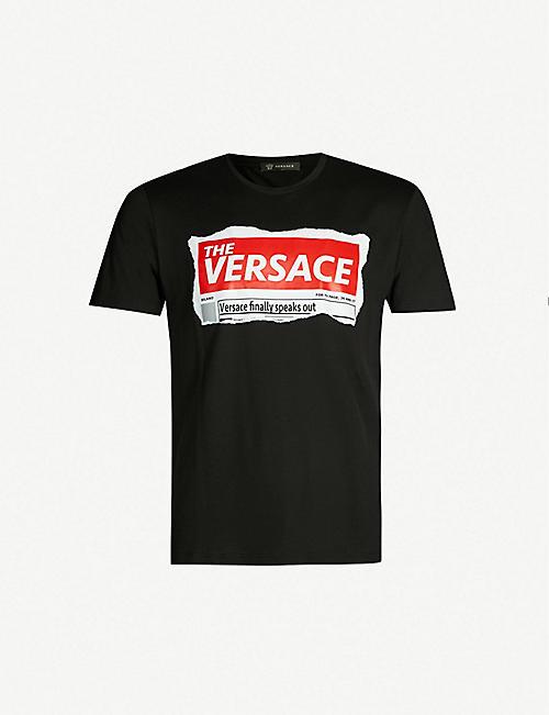 1ddf5754 VERSACE Graphic logo-print cotton-jersey T-shirt