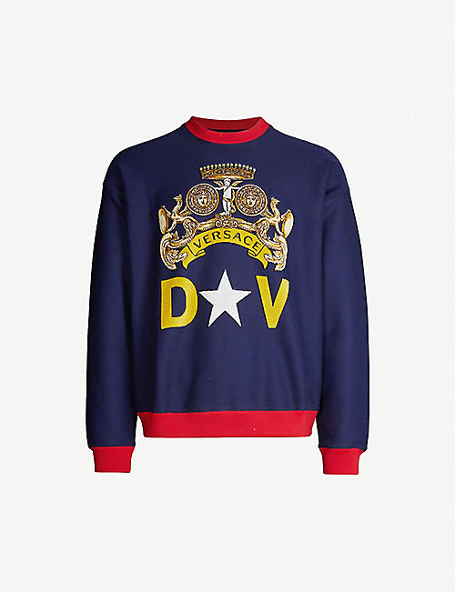 b998f43816ba VERSACE Logo-intarsia stretch-cotton sweatshirt