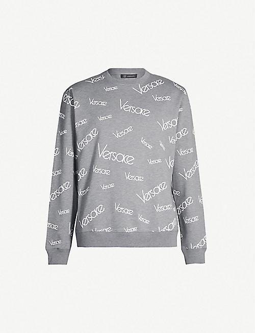 30223e1e VERSACE Logo-covered cotton-blend jersey sweatshirt