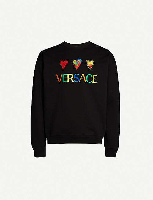 81c62755dd03d VERSACE Logo-embroidered heart-appliqué cotton-jersey sweatshirt