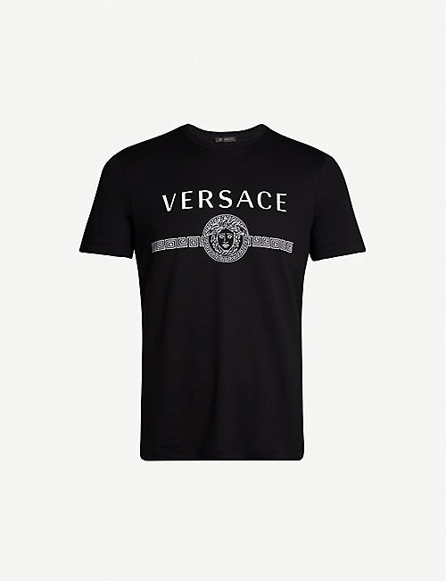 c458b51966194 VERSACE Logo-print cotton-jersey T-shirt