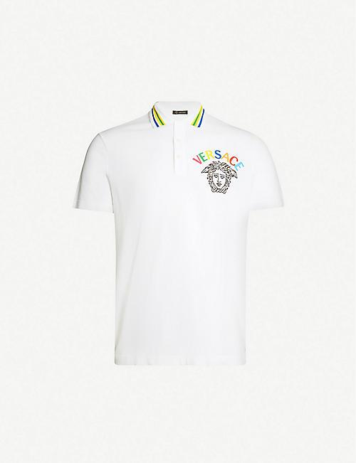 b43321294098d4 VERSACE Logo-embroidered cotton-piqué polo shirt