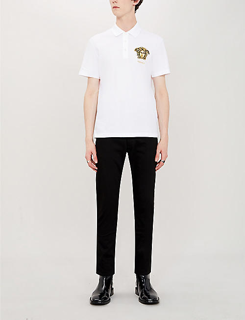 VERSACE Logo-embroidered cotton-pique polo shirt