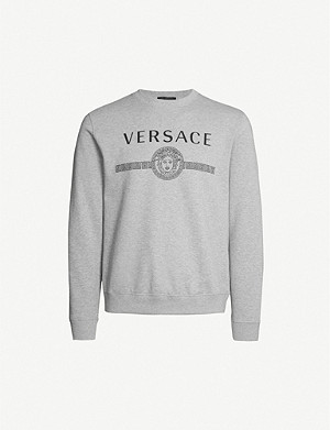 VERSACE Branded crewneck cotton-jersey sweatshirt