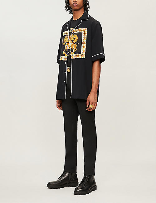 VERSACE Logo-embroidered embellished cotton T-shirt