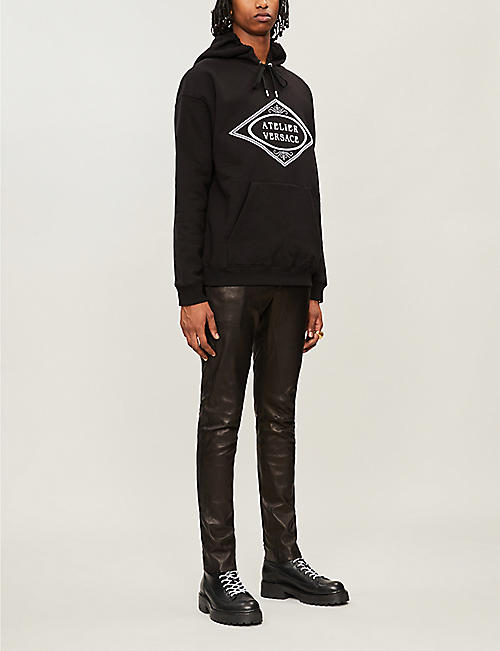 VERSACE Atelier logo-embroidered cotton-jersey hoody