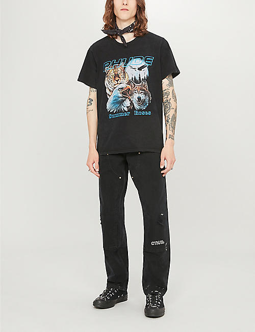 RHUDE Animals graphic-print cotton-jersey T-shirt