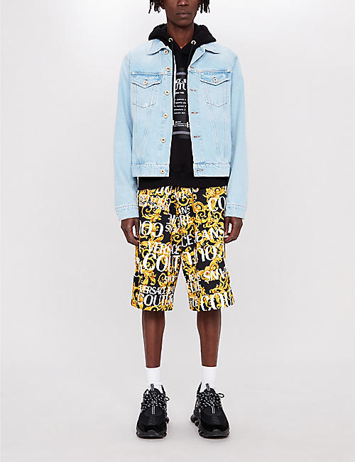 VERSACE JEANS COUTURE Baroque-print cotton shorts