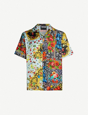 VERSACE JEANS COUTURE Graphic-print relaxed-fit crepe shirt