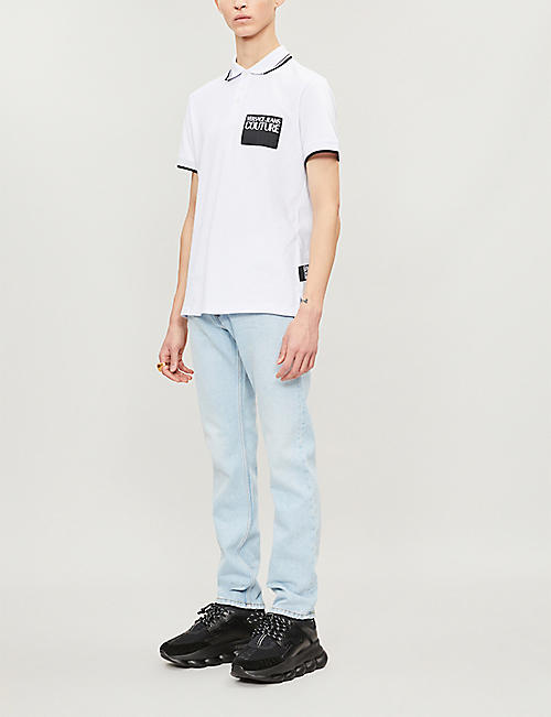 VERSACE JEANS COUTURE Logo-patch striped-trim cotton polo shirt