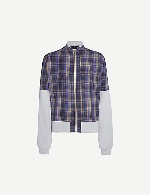 WARREN LOTAS Summer panelled checked cotton-blend bomber jacket