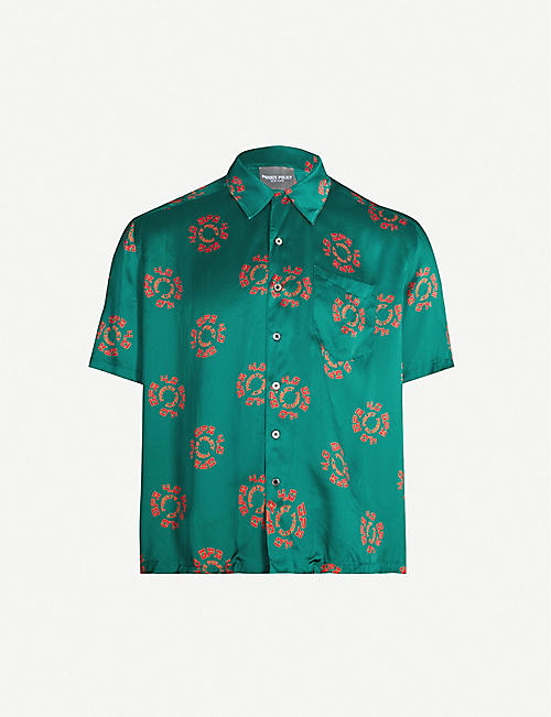 PRIVATE POLICY Dragon-print regular-fit silk shirt