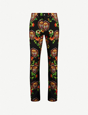 FACETASM Lion-print straight cotton-fleece trousers