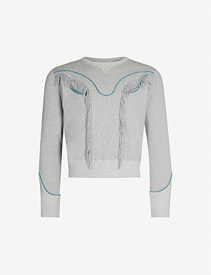FACETASM Tasselled cotton-jersey sweatshirt