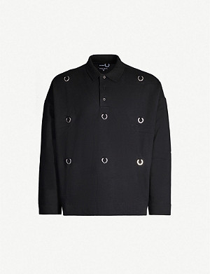 RAF SIMONS X FRED PERRY Raf Simons x Fred Perry plaque-embellished cotton-jersey polo top