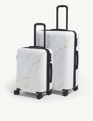 CALPAK Gold Marble four-wheel suitcases set of two