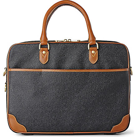 MULBERRY Scotchgrain computer case (Black-cognac