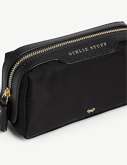 ANYA HINDMARCH Girlie Stuff leather-trimmed nylon pouch