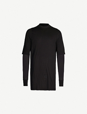 RICK OWENS DRKSHDW Layered long sleeve cotton-jersey T-shirt