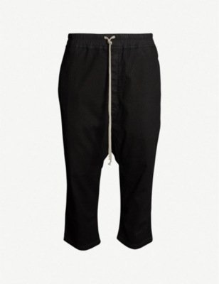 RICK OWENS DRKSHDW Dropped-crotch relaxed-fit stretch-denim shorts