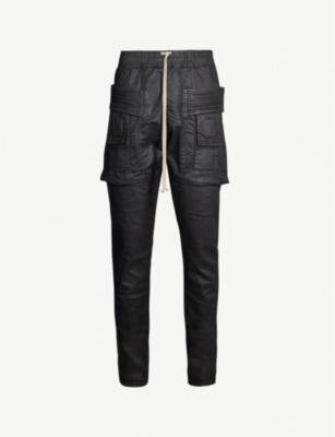 RICK OWENS DRKSHDW Creatch relaxed-fit panelled waxed cotton-blend trousers