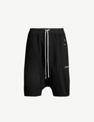 RICK OWENS DRKSHDW Brand-patch drop-crotch cotton-jersey shorts