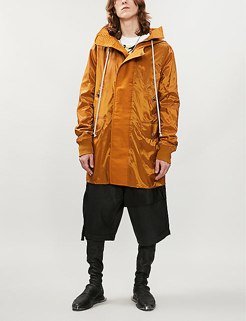 RICK OWENS DRKSHDW Glossy shell hooded parka coat