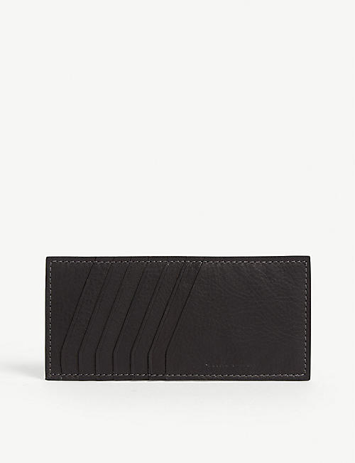 RICK OWENS Striped vertical leather card holder