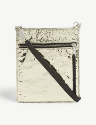 RICK OWENS Crinkled metallic leather small pouch bag