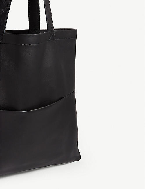 RICK OWENS Embossed logo large leather shopper tote