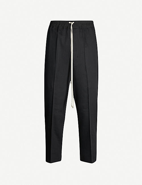 RICK OWENS Cropped slim-fit tapered wool and cotton trousers