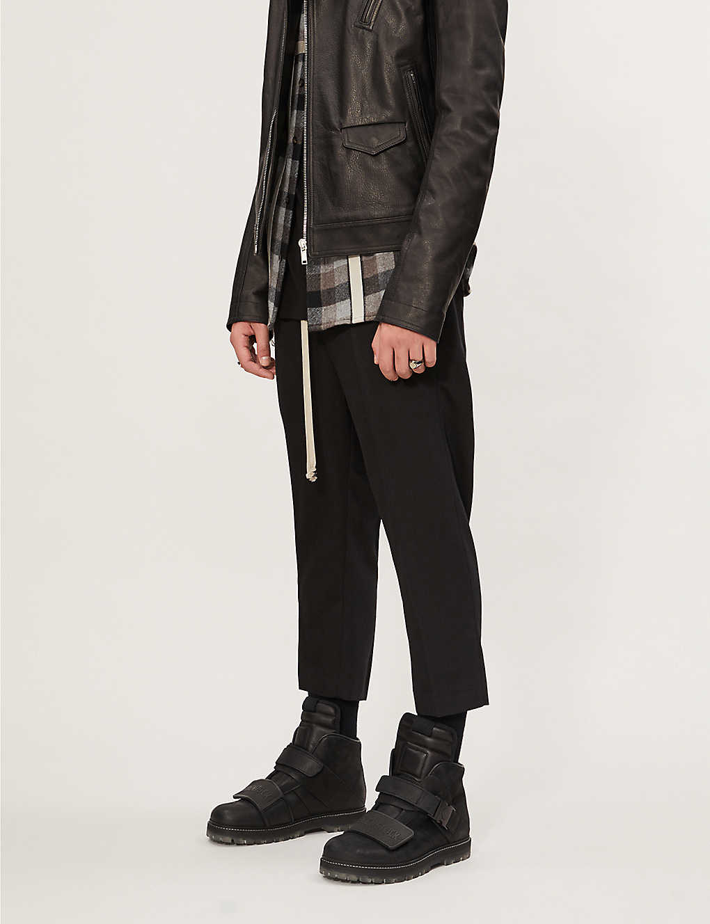 RICK OWENS: Cropped slim-fit tapered wool and cotton trousers
