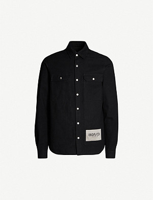 RICK OWENS Logo-patch denim overshirt