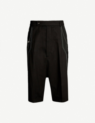 RICK OWENS Contrast-panel dropped-crotch stretch-twill shorts
