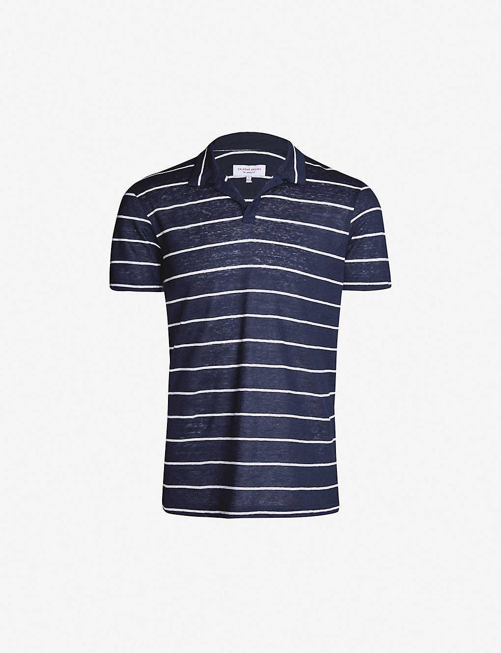 e5c78f13 ORLEBAR BROWN - Felix striped linen polo shirt | Selfridges.com