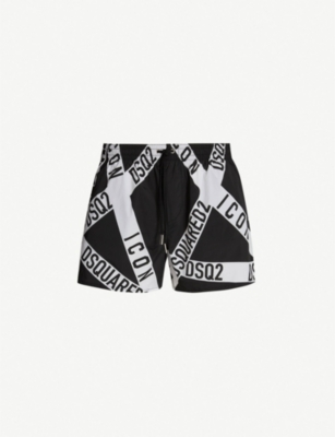 DSQUARED2 Relaxed-fit firetape print swim shorts