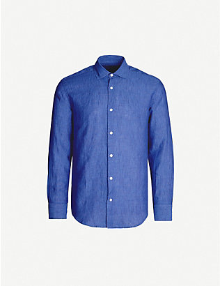 FRESCOBOL CARIOCA: Relaxed-fit long-sleeved collared linen shirt