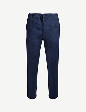 FRESCOBOL CARIOCA Relaxed-fit straight linen and cotton-blend trousers