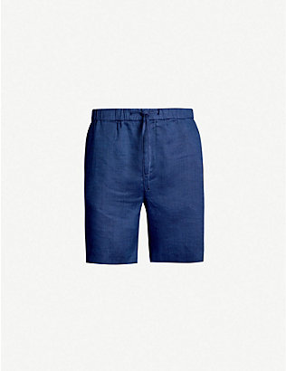 FRESCOBOL CARIOCA: Drawstring-waistband mid-rise cotton and linen-blend shorts