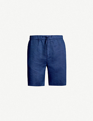 FRESCOBOL CARIOCA Drawstring-waistband mid-rise cotton and linen-blend shorts