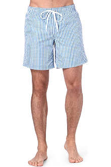 SUNDEK Fixed-waist gingham-check swim shorts