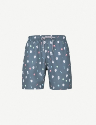 BOARDIES Day of the Dead-print swim shorts