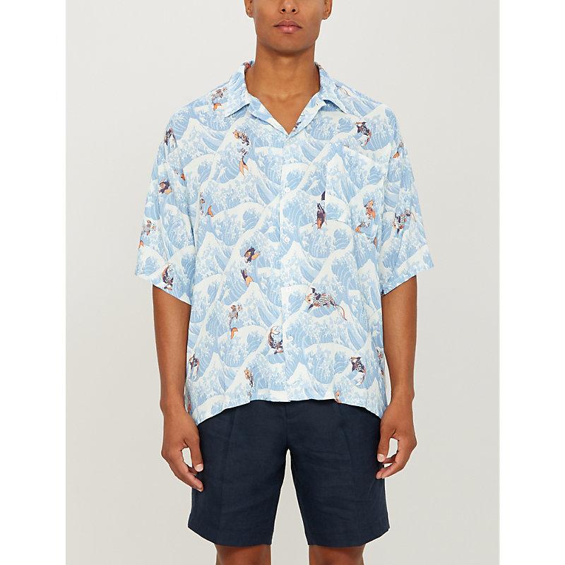 0f2eabae8b BOARDIES | Koi Wave-Print Regular-Fit Rayon Shirt | Goxip