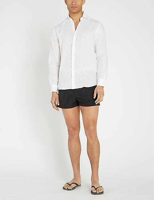 00b69587ce8dc CALVIN KLEIN Logo-waist mesh-lined drawstring swim shorts
