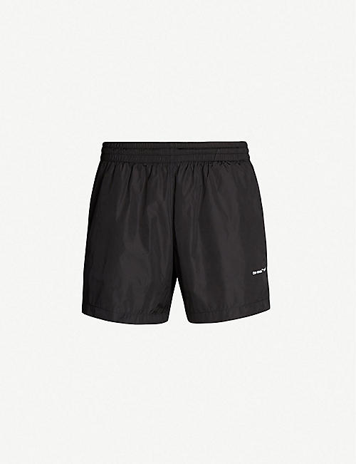 912a1b870806 OFF-WHITE C O VIRGIL ABLOH Logo-print regular-fit swim shorts