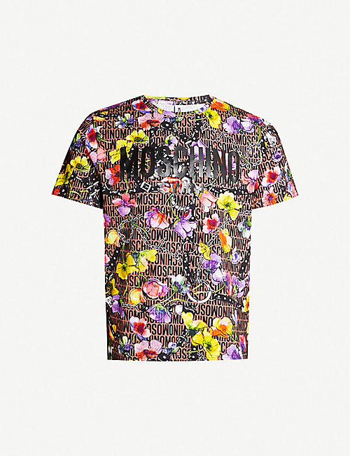 fc3f66d0 MOSCHINO Floral-print cotton-jersey T-shirt