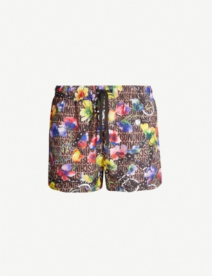 MOSCHINO Logo and floral harness-print relaxed-fit swim shorts